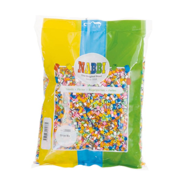 Nabbi® Bügelperlen Ø 5mm, 10.000 Stk., Streifen Mix