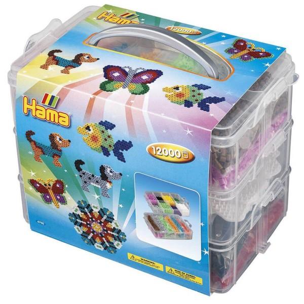 Hama Große Aufbewahrungsbox für Bügelperlen mit Inhalt