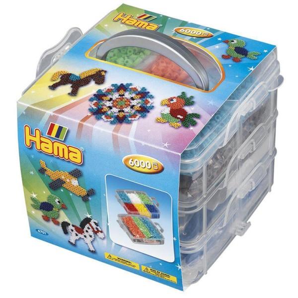 Hama Kleine Aufbewahrungsbox für Bügelperlen mit Inhalt
