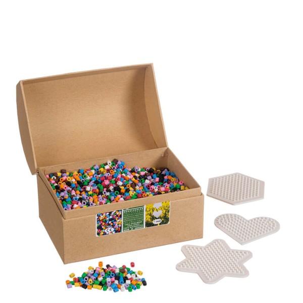 Nabbi® Bio Bügelperlen Schachtel inkl. 3 Stiftplatten Ø 5mm, 7.000 Stk., 10 Farben Mix