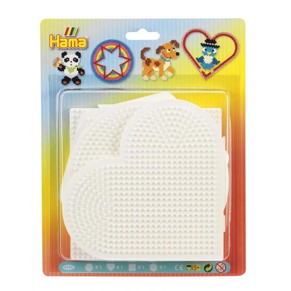 Hama Blister mit 4 Stiftplatten, Kreis, Herz, Quadrat, Sechseck