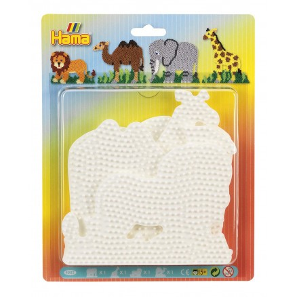Hama Blister mit 4 Stiftplatten - Kamel, Löwe, Giraffe, Elefant