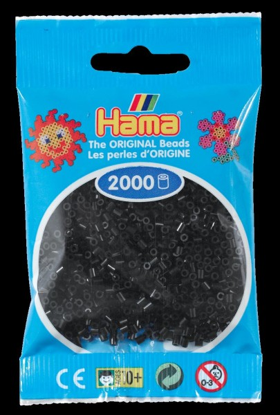 Hama Mini-Bügelperlen 2000 im Beutel schwarz