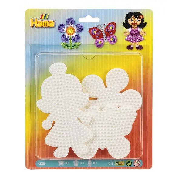 Hama Blister mit 3 Stiftplatten - Blume, Schmetterling & Puppe