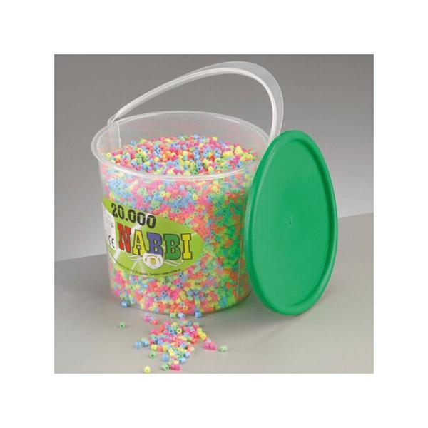 Nabbi® Bügelperlen im Eimer, Ø 5mm 20.000 Stk.,Pastell Mix